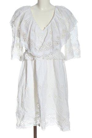 Antik Batik Koronkowa sukienka biały Na całej powierzchni W stylu casual