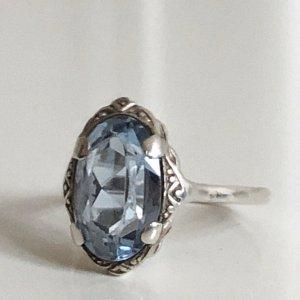 Antik Jugendstil 830 Silber Ring Silberring aqua blau