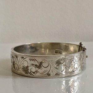 Antik Jugendstil 925 Sterling Silber Armband Armreif Klapparmreif Juwelierarbeit Handarbeit Blumen Ornamente