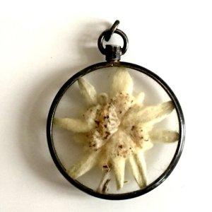 Antik Jugendstil Anhänger 835er Silber Edelweiss Medaillon transparent Glas