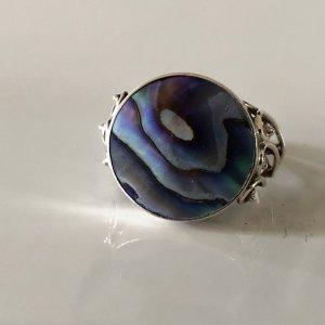 Antik Jugendstil Art Deco Abalone Paua Muschel Silber Ring Silberring Abalone Naturschmuck