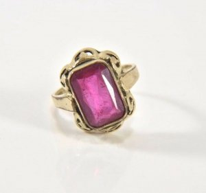 Antik Jugendstil Gold Charnier Ring Steinbesatz in pink