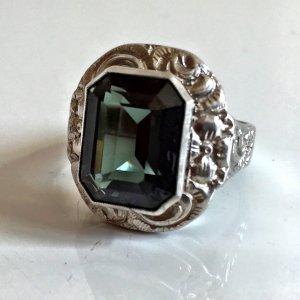 Antik jugendstil Silber Ring 835 Silber Silberring Art Deco grün