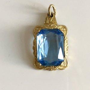 Antik Jugendstil Silberanhänger 835er Silber vg Gold Anhänger Art Deco aqua blau Stein