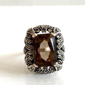 Antik Jugendstil Silberring Rauchquarz im Baguette-Schliff 830er Silber Ring