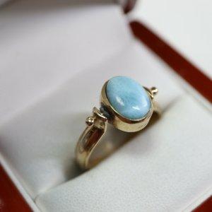 Antik Jugendstil Umklappring 585 Gold Larimar Bernstein Cabochon Ring Goldring