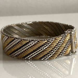 ❤️ Antik Sterling 925  Luxus Armband Bicolor silber gold Juwelierarbeit schwer Silberarmband
