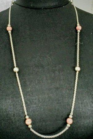 Antike 835 silber Kette mit Rhodochrosit - und Silber Kugeln