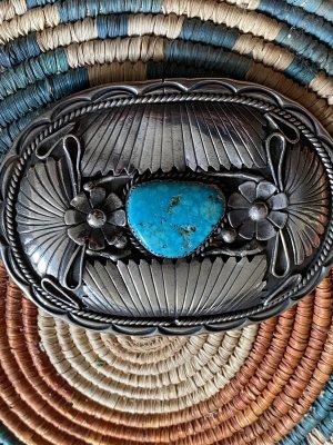 Antike Indianer Gürtelschnalle Sterling Silber