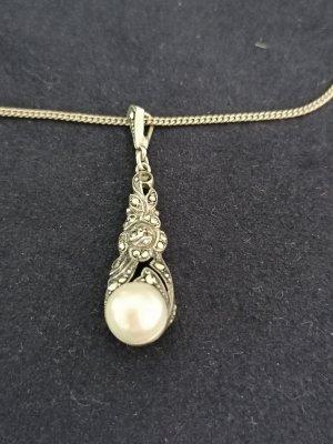 Antiker Anhänger 835er Silber mit Perle und Markasiten, Kette 835er Silber