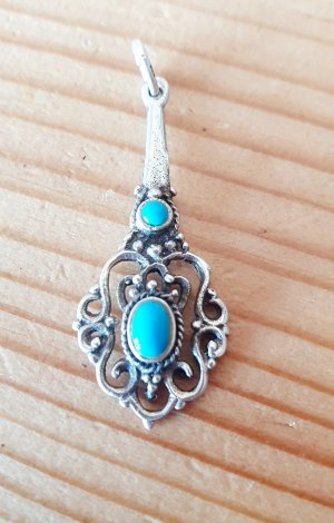 Colgante color plata-turquesa