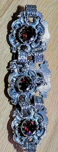 Silver Bracelet silver-colored-dark red