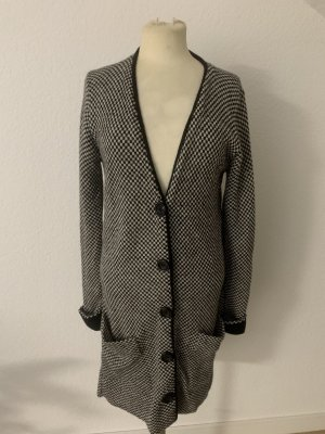 anukoo Manteau en tricot noir-blanc