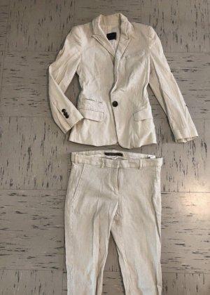 Zara Garnitur biznesowy w kolorze białej wełny-kremowy