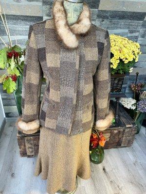Anzug Jacke mit Fell Ansatz und Rock Gade Vintage Wolle Gr 40