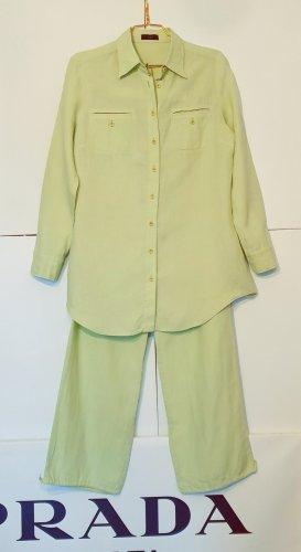 Oui Trouser Suit pale green linen