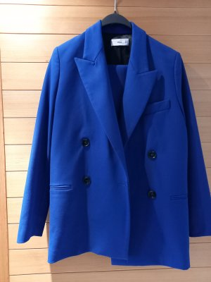 Mango Blazer Boyfriend azul tejido mezclado