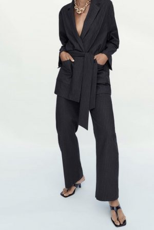 Zara Pinstripe Suit black