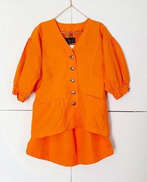Laurèl Garnitur damski pomarańczowy neonowy Len