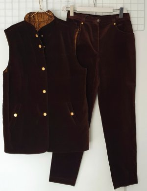 Basler Trouser Suit gold-colored-dark brown viscose