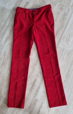 Cortefiel Corduroy Trousers red polyester