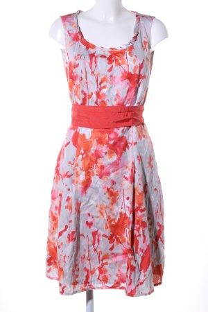 Apanage A-Linien Kleid hellgrau-rot abstraktes Muster Elegant