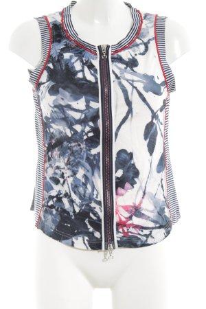 Apanage Kurzarm-Bluse abstraktes Muster extravaganter Stil