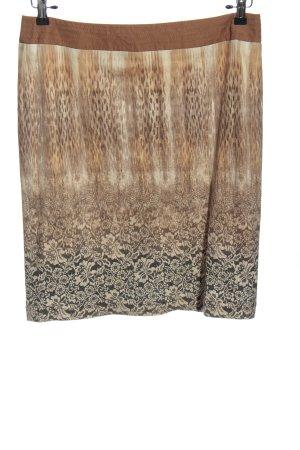 Apanage Jupe mi-longue brun-noir motif graphique style décontracté