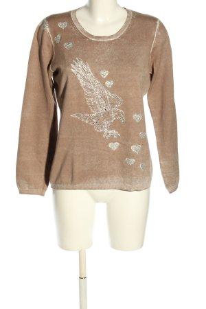 Apanage Sweter z okrągłym dekoltem brązowy-w kolorze białej wełny