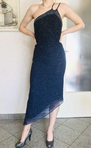 Apart Abendkleid, asymmetrisch , Schmucksteine, Pailletten blau
