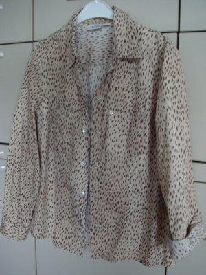 APART - Bluse  Gr. 42/44 Raubtier-Look Hemdbluse beige braun  - Baumwolle