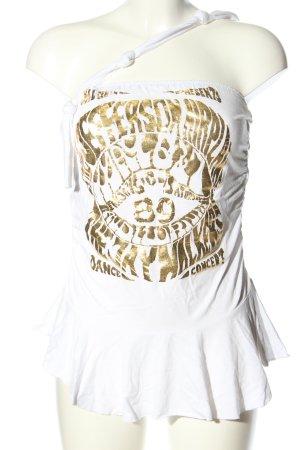 Apart Haut bustier blanc-doré imprimé avec thème style décontracté