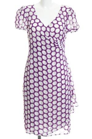 Apart Vestido de chifón blanco-violeta oscuro estampado a lunares