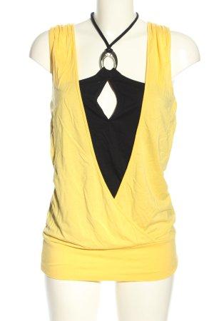 Apart Top stile impero giallo pallido-nero stile casual