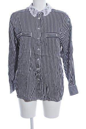 Apart Fashion Kanten blouse zwart-wit gestreept patroon zakelijke stijl