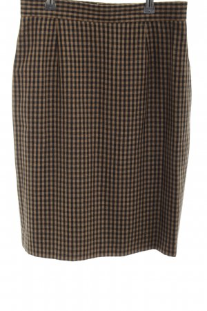 Apart Fashion Wełniana spódnica brązowy-czarny Wzór w kratkę