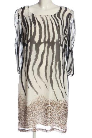 Apart  glamour Robe chemisier noir-blanc cassé motif animal style décontracté