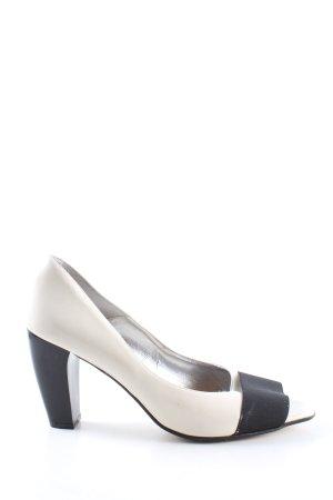 Apart Wysokie obcasy w kolorze białej wełny-czarny W stylu biznesowym
