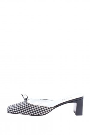 Apart Heel Pantolettes black-white check pattern casual look