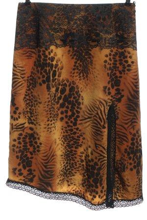 Apart Impressions Falda de talle alto naranja claro-negro estampado de animales