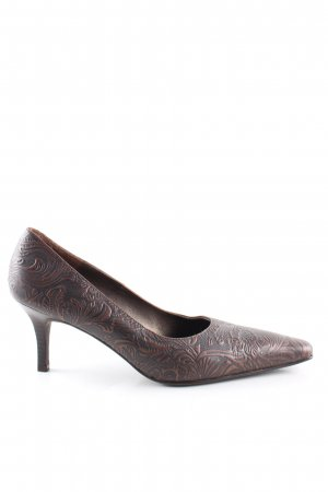 Apart Impressions Pointed Toe Pumps brown allover print vintage look