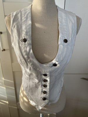 Apart Gilet en jean blanc coton