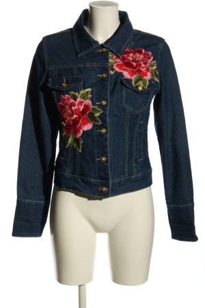 Apart Jeansowa kurtka niebieski-czerwony Wzór w kwiaty W stylu casual