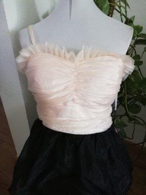Apart Vestido estilo flounce negro-crema
