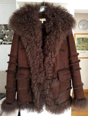 Apart Futrzana kurtka brązowy Skóra