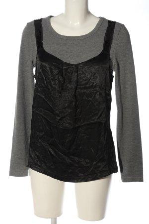 Apart Bluzka z długim rękawem czarny-jasnoszary Melanżowy W stylu casual