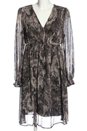Apart Robe à manches longues noir-brun imprimé allover élégant