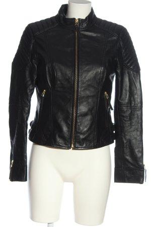 Apart Skórzana kurtka czarny W stylu casual