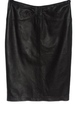 Apart Skórzana spódnica czarny W stylu biznesowym