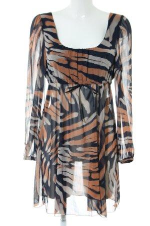 Apart Long-Bluse schwarz-braun abstraktes Muster Elegant